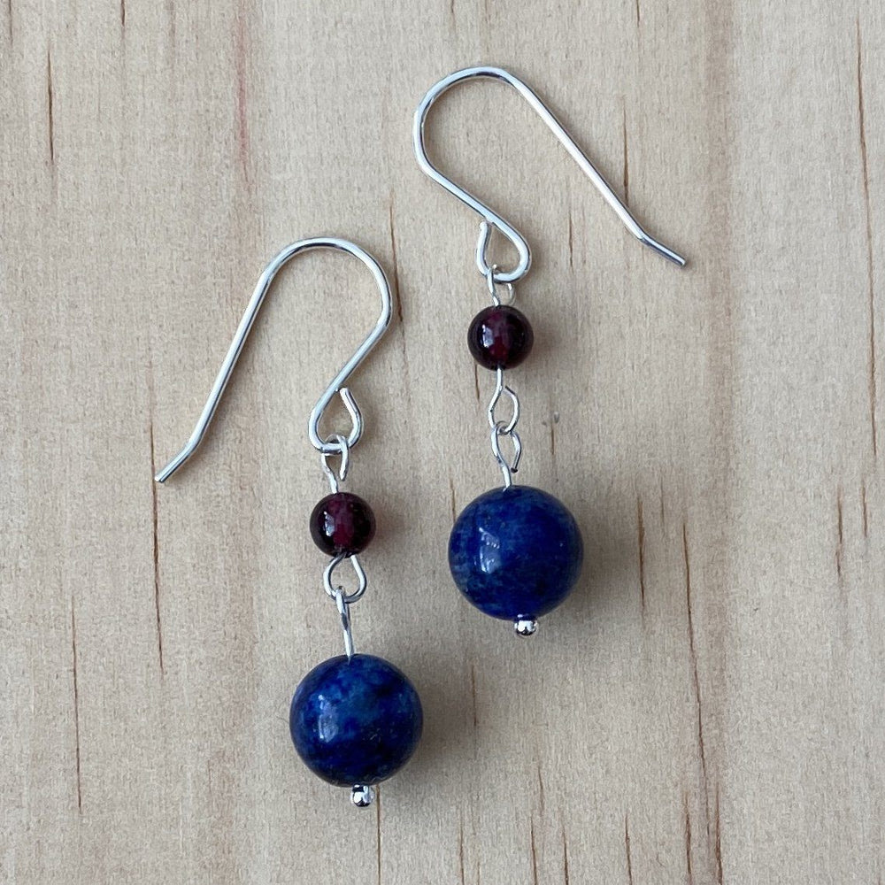 Lapis Lazuli & Red Garnet Earrings - Empaness
