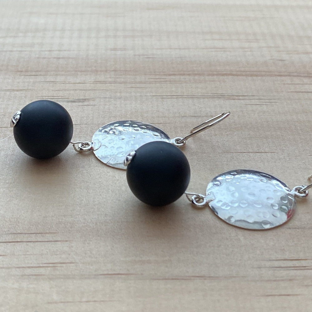 Recycled Disk & Matt Black Onyx Earrings - Empaness