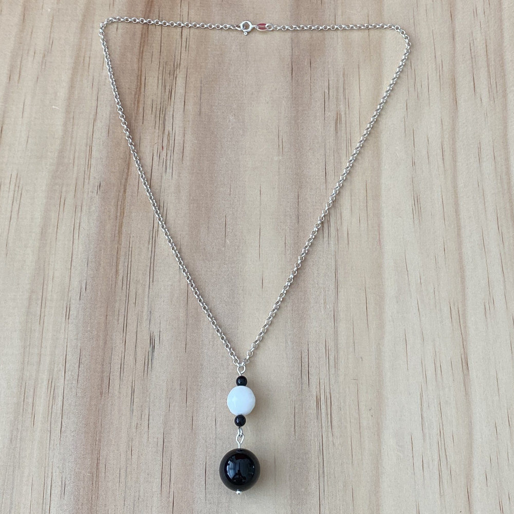 Black & White Onyx Silver Necklace - Empaness