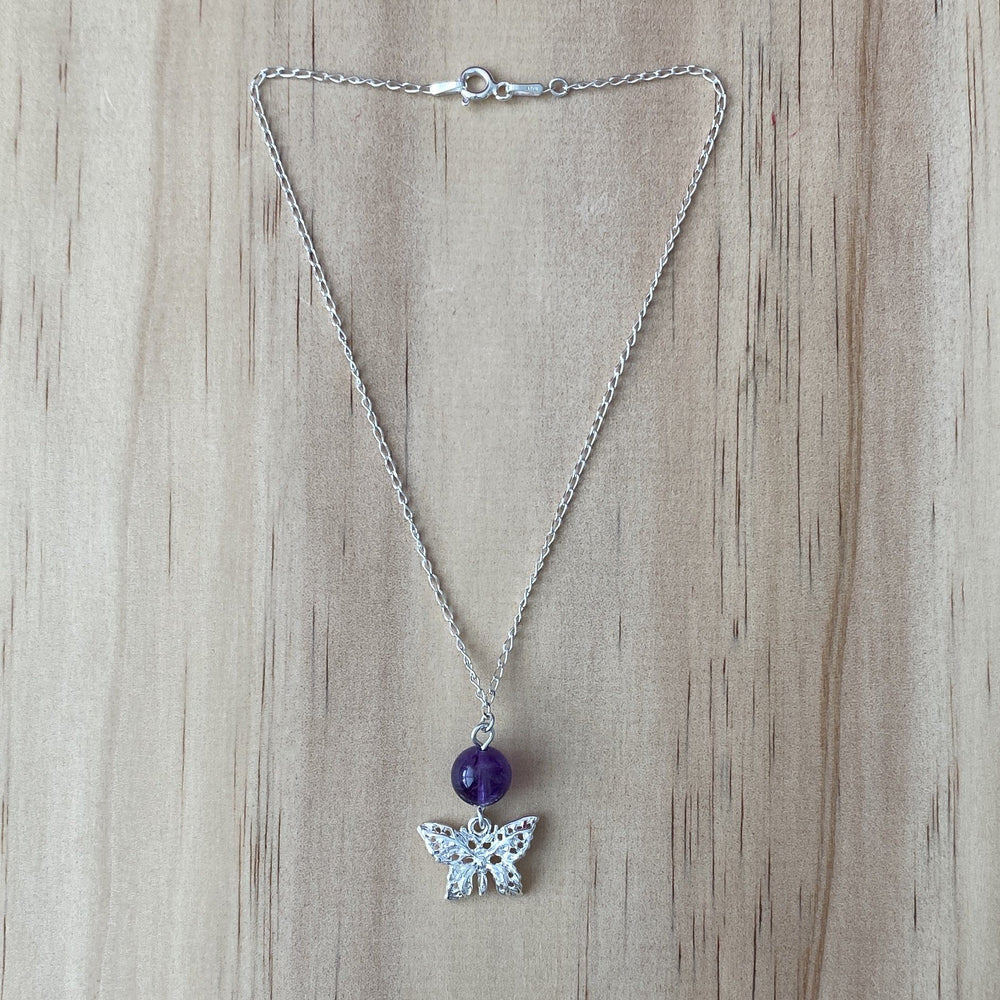 Silver Butterfly & Amethyst Anklet - Empaness