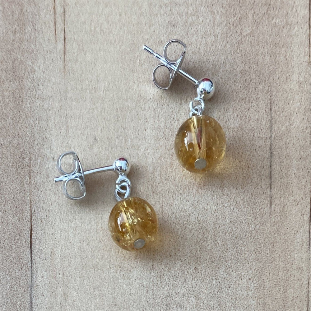 Citrine Ball Stud Earrings