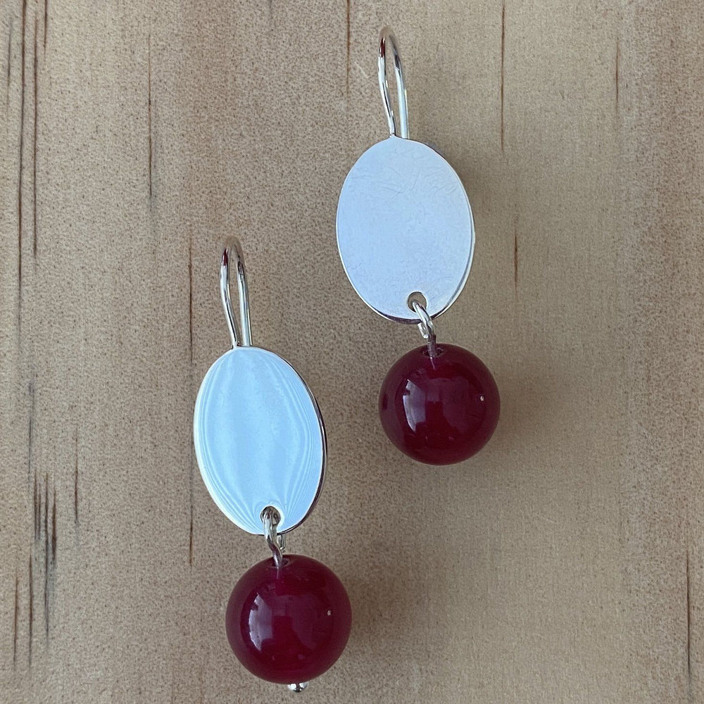 Malay Jade Fuchsia Silver Earrings