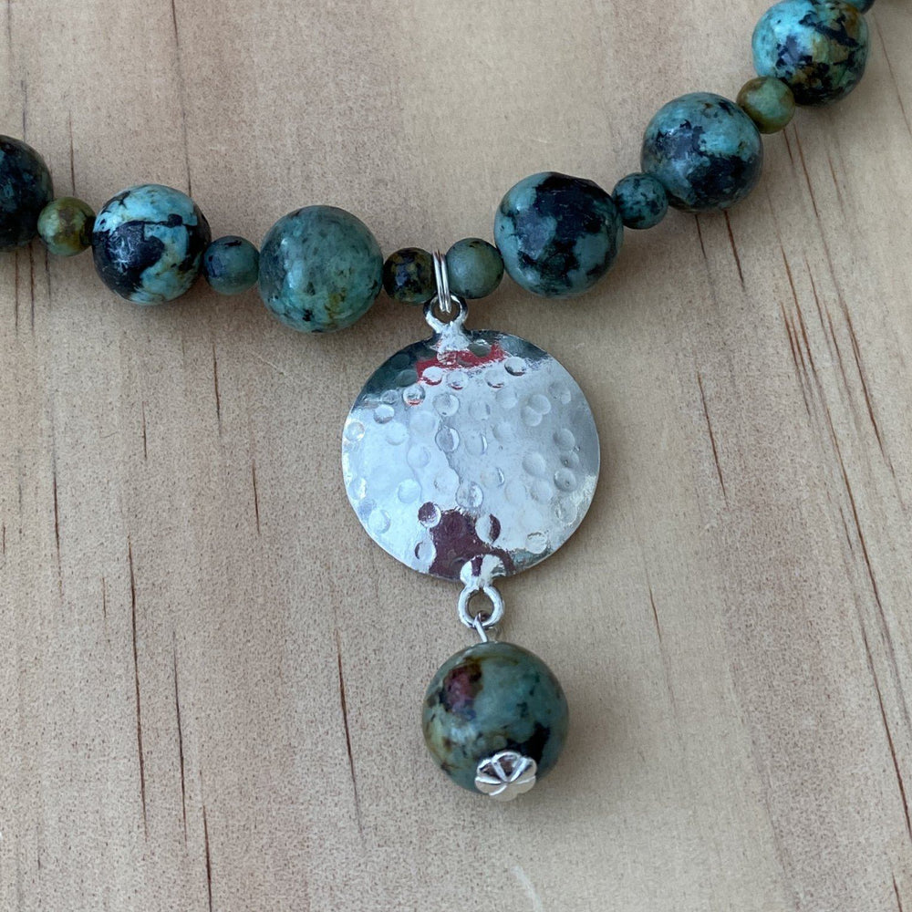 African Turquoise & Recycled Silver Disk Necklace