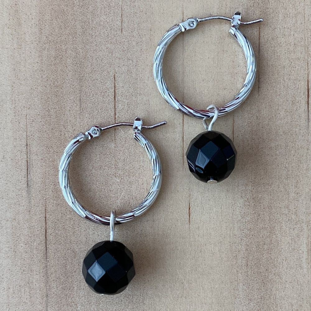 Sterling Silver Twisted Hoop & Black Onyx Earrings - Empaness