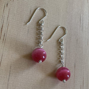 buy Recycled Pink Cats Eye Sterling Silver Earrings online