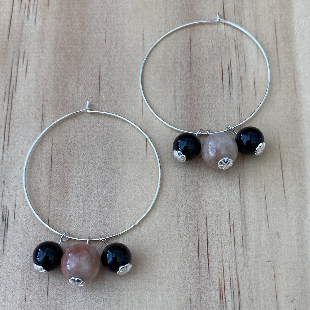 Recycled Cherry Blossom Agate & Black Onyx Hoop Earrings