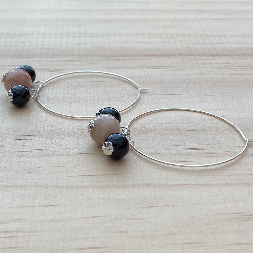 Recycled Cherry Blossom Agate & Black Onyx Hoop Earrings - Empaness