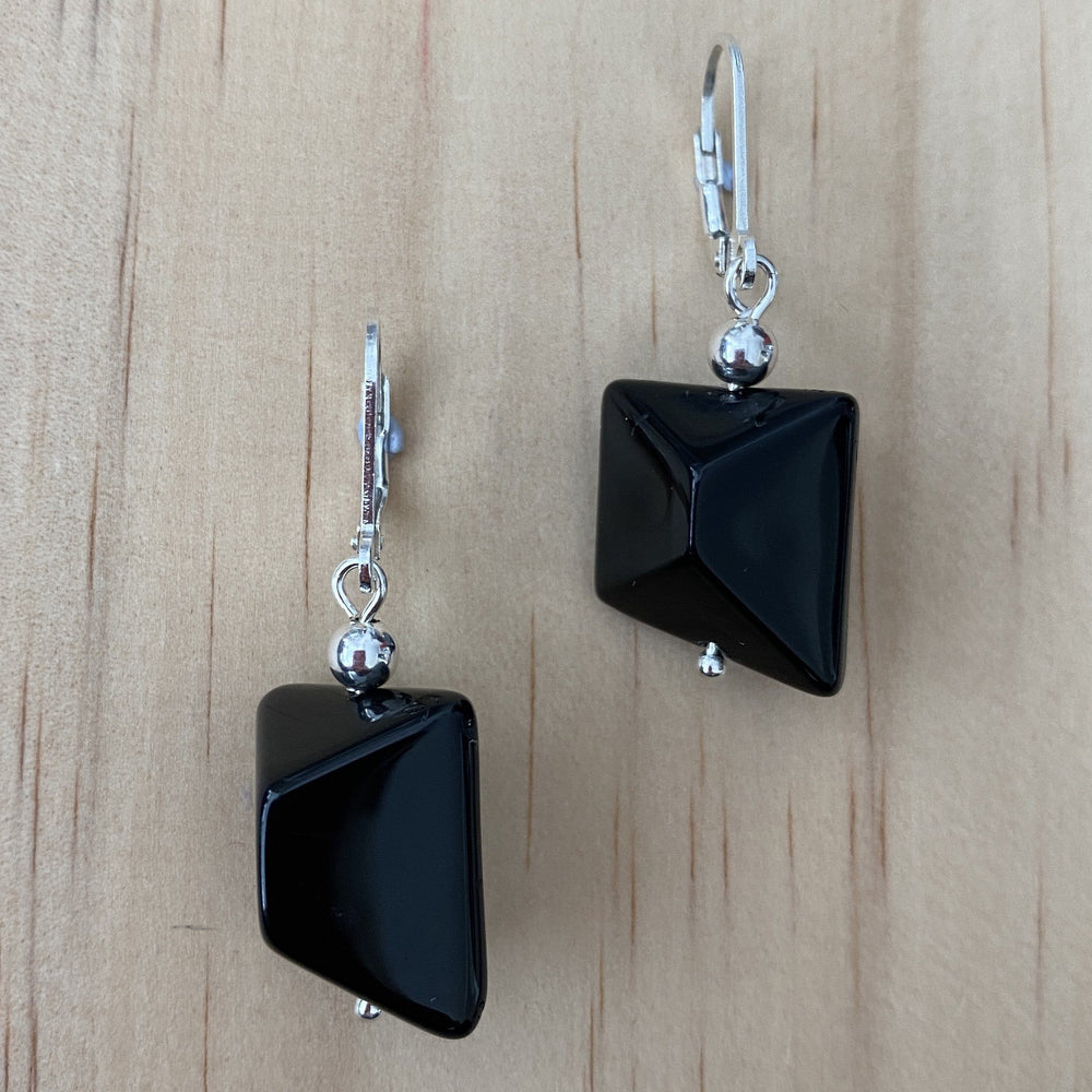 Recycled Black Glass Bead Earrings - Empaness