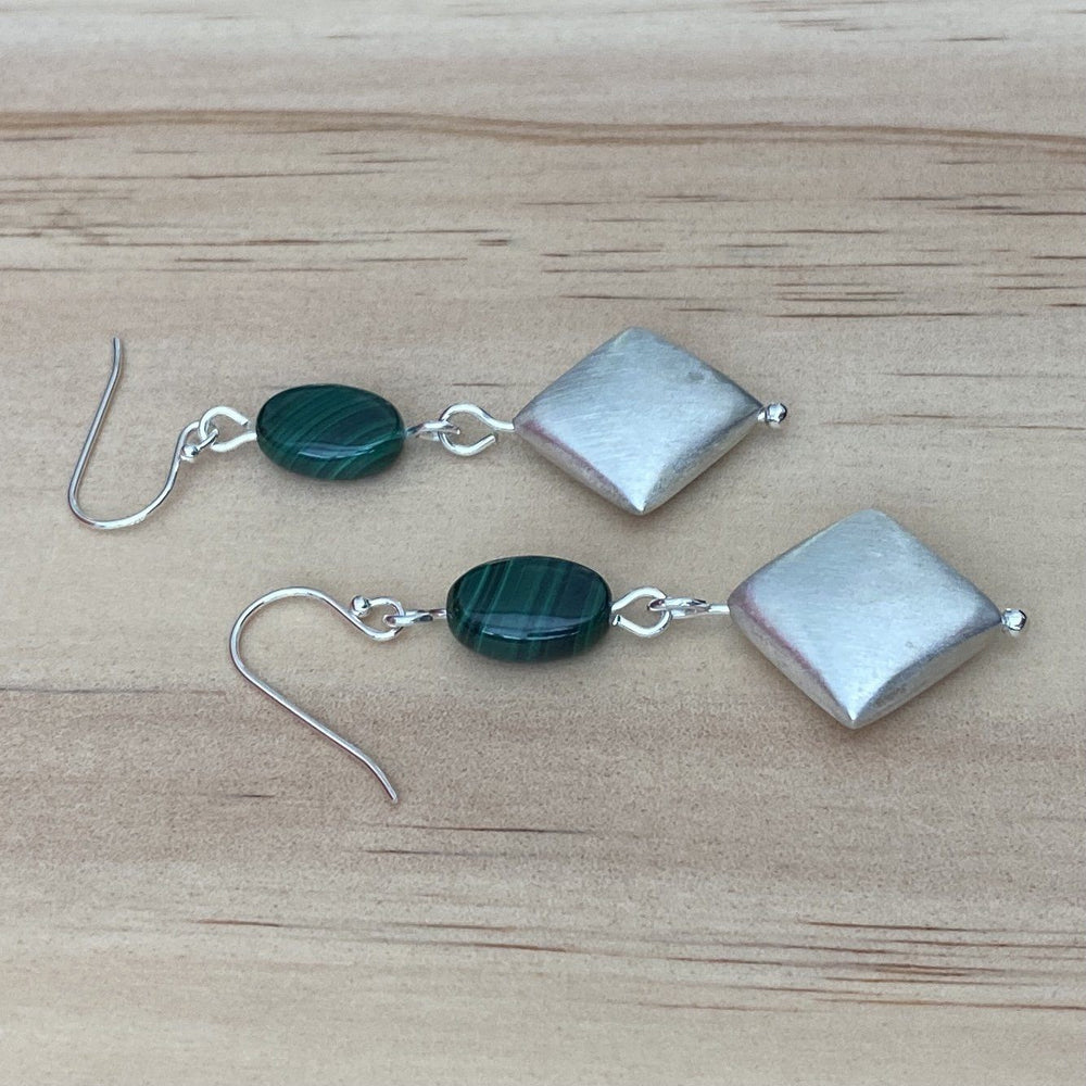 Malachite & Brushed Silver Bead Earrings - Empaness