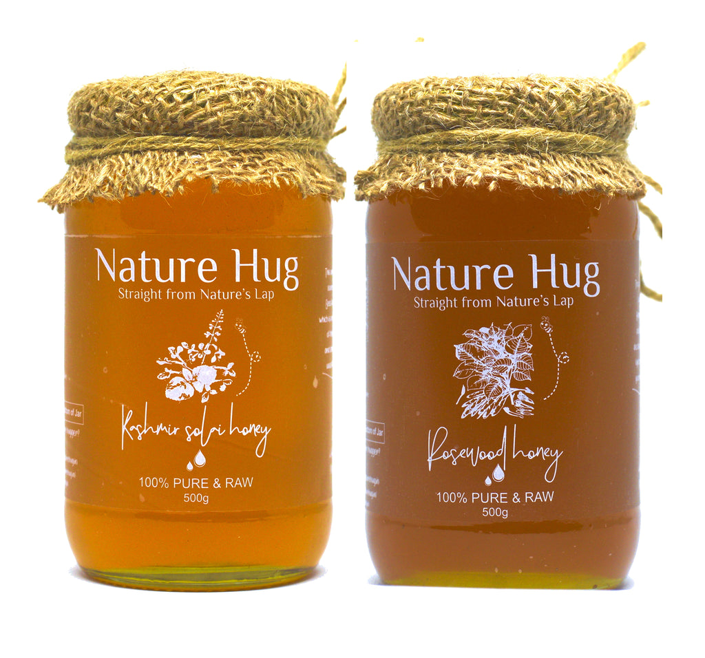 Raw Rosewood Honey(500g) & Premium Raw Kashmir Honey(500g) Combo