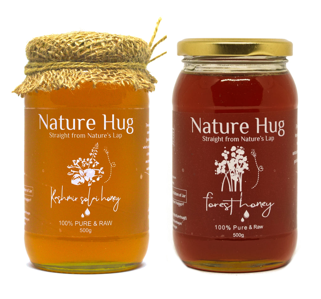 Raw Forest Honey(500g) & Premium Raw Kashmir Honey(500g) Combo