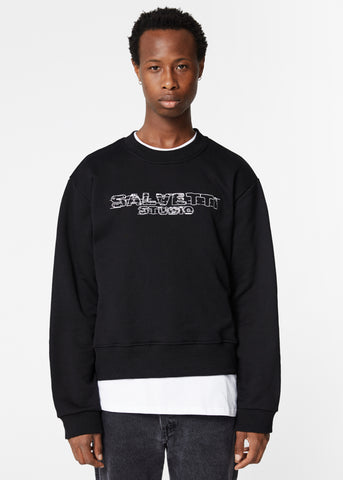 BLACK 'DISTRESSED LOGO' SWEATSHIRT