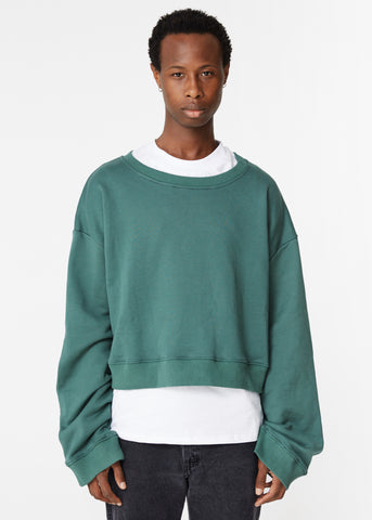 GREEN CROPPED SWEATSHIRT