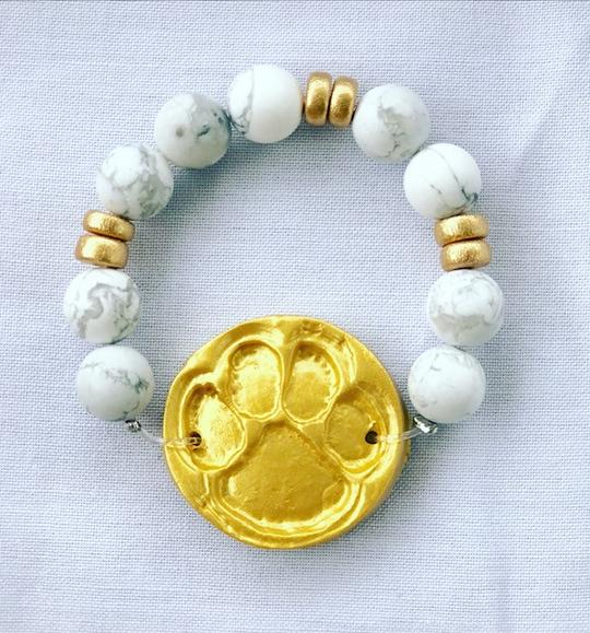 Clemson Bracelet White Turquoise with the Tiger Paw