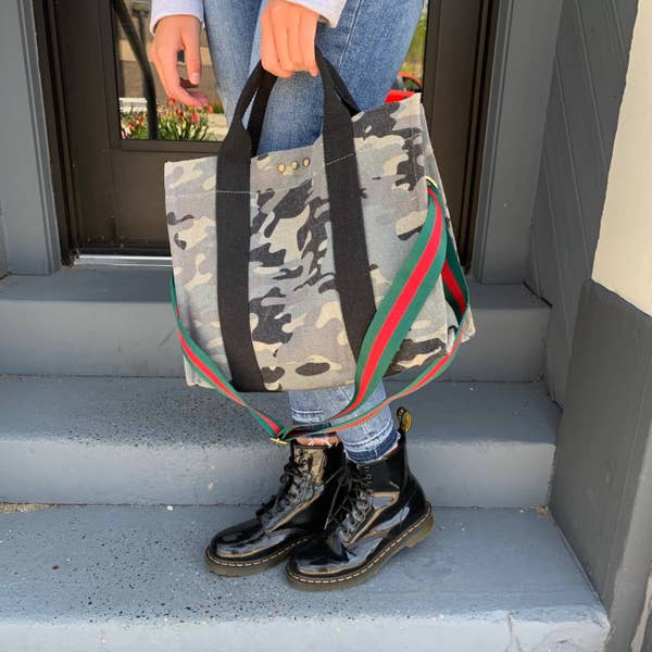 Camo Canvas Bag w/Messenger Strap