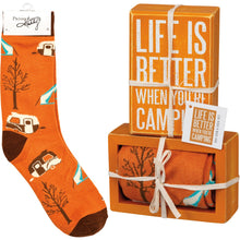 Load image into Gallery viewer, Box Sign & Sock Set - Life Is Better Camping