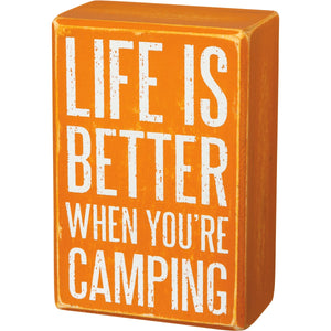 Box Sign & Sock Set - Life Is Better Camping