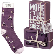 Load image into Gallery viewer, Box Sign & Sock Set - More Stretching Less Stressing