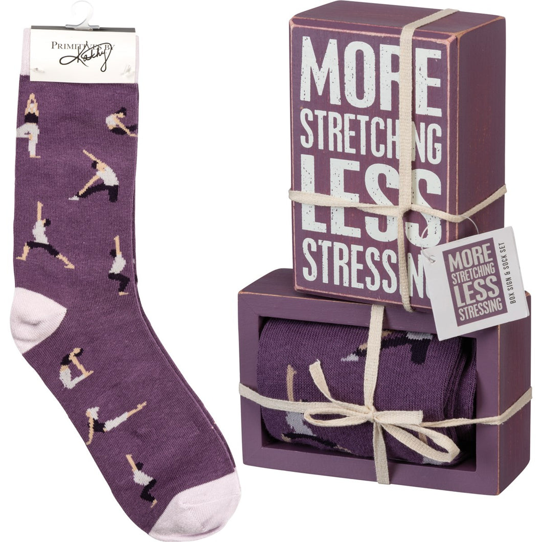 Box Sign & Sock Set - More Stretching Less Stressing