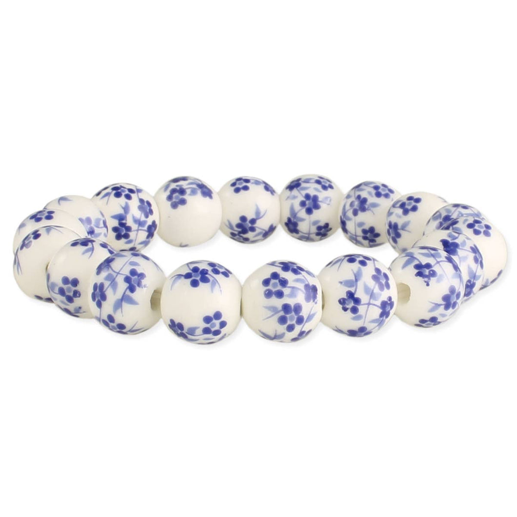 Vintage Blue & White Ceramic Bead Stretch Bracelet