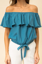 Load image into Gallery viewer, Off Shoulder Crop Ruffle Top