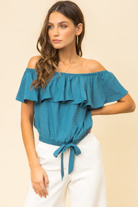 Off Shoulder Crop Ruffle Top