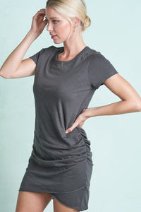 T Shirt Side Ruched Dress in Carbon