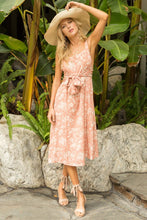 Load image into Gallery viewer, Peach Floral Midi Dress