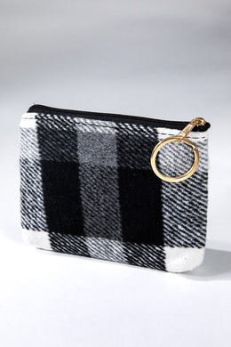 White Checker Plaid Coin and Card Purse