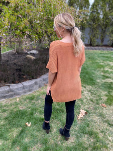 V-Neck Short Sleeve Sweater