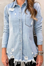 Load image into Gallery viewer, Distressed Denim Button Down
