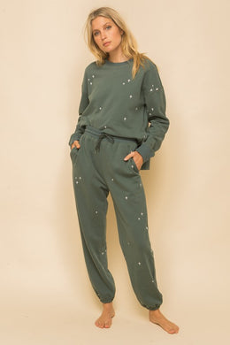 Soft Embroidery Sweatpants in Vintage Teal