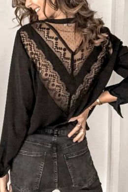 Black Lace Detailed Blouse