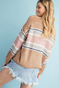 Brown & Mauve Lightweight Striped Sweater