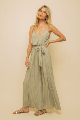Wide Leg Belt Waist Jumpsuit
