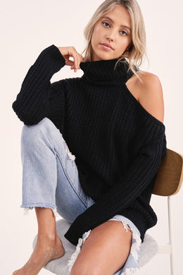 Cutout Shoulder Turtleneck Sweater (3 Colors)