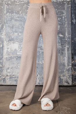 Oatmeal Ribbed High Waist Pants