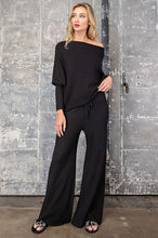 Load image into Gallery viewer, Black Ribbed High Waist Pants