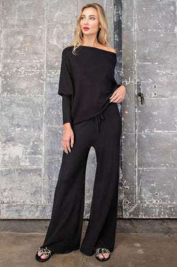 Black Ribbed High Waist Pants