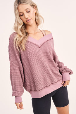 Waffle V-Neck Top (3 Colors)