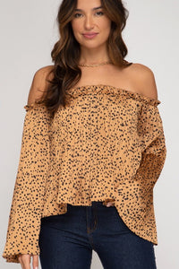 Off The Shoulder Sleeve Printed Satin Top