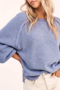 Carino Textured Sweater in Steel Blue