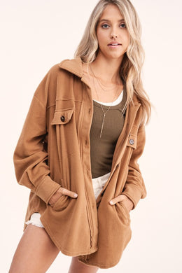 Camel Fleece Shirt Jacket