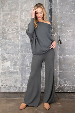 Charcoal Ribbed High Waist Pants