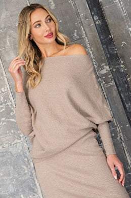 Oatmeal Ribbed Asymmetric Dolman Sweater