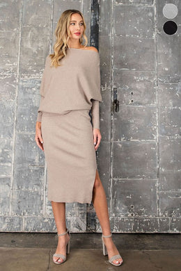 Oatmeal Ribbed Pencil Skirt