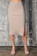 Load image into Gallery viewer, Oatmeal Ribbed Pencil Skirt