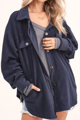 Navy Fleece Shirt Jacket