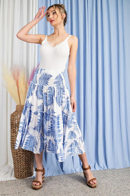 Tropical Print Tiered Maxi Skirt