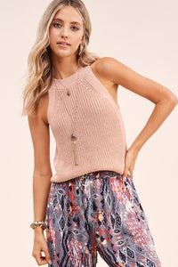 Blush Knit Halter Tank